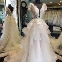 Wholesale low cut backless - Gorgeous Low Cut A Line Wedding Dresses 2018 Summer Lace Short Sleeves Bridal Gowns Tulle Tiered Sweep Train Wedding Vestidos Custom Made