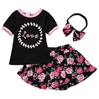 Wholesale top style kids - Girls Three-piece Sets T-shirt Tops Floral Skirts Headband Hairband Cotton Love Letters Summer Kids Outfits 1-5T