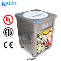 dondurma makinesi toptan satış-ETL CE Ücretsiz gönderi hava yoluyla kapı ABD AB Franchise Kolice 55 CM YUVARLAK PAN 110 v THAI Kızarmış dondurma rulo makinesi yavru dondurma makinesi