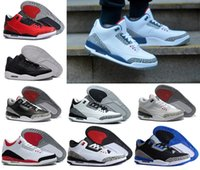 Wholesale Wolf Hunts - 2018 Mens 3 3s Basketball Shoes True Blue wolf grey sport blue Black Cement White high quality Sports Sneakers Eur 41-47