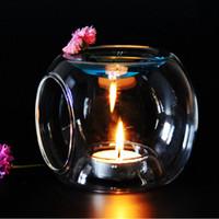 Wholesale fragrance warmers - Glass Fragrance Aroma Oil Burner Tealight Holder Candle Wax Tart Warmer