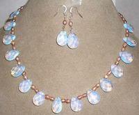 Wholesale 14k gold sapphire bracelet - Pink pearl  Sri Lanka Moonstone drops pendant necklace Earrings set