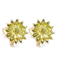 glänzender knopf großhandel-Mode Frauen Ohrringe Übertrieben Hohe Qualität AAA Zirkone Ohr Knopf Blumen Shaped Super Glänzende Ohrringe Großverkauf der Fabrik