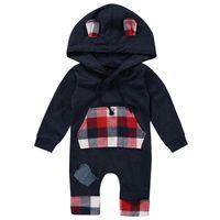 mono de invierno para niños al por mayor-Hooded Baby Rompers Boys Red Kangaroo Pocket Elastic Rope Jumpsuit Sew Knee Solid manga larga 95% algodón Otoño Invierno Ropa