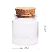 bouteilles à jarret achat en gros de-Récipient de stockage en verre de couvercle en verre recyclé de 50ml, pendentif de fiole de petite bouteille en verre avec du liège