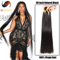 longo cabelo humano tecer venda por atacado-XCSUNNYHAIR Atacado 30 32 34 36 38 40 polegada Super Longo 9A Em Linha Reta 100% Cabelo Brasileiro Virgem Tecer Extensões de Cabelo Humano