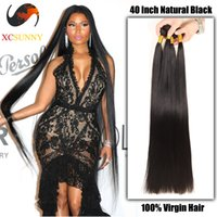 Hot selling XCSUNNYHAIR Wholesale 30 32 34 36 38 40 inch Super Long 9A Straight 100% Brazilian Virgin Hair Weave Human Hair Extensions