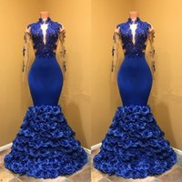 Wholesale Nude Modern Women Picture - Royal Blue Long Sleeves Evening Dresses Deep V Neck Mermaid Prom Dresses 2018 Lace Appliques African Women Formal Wear Party Gowns Vestidos