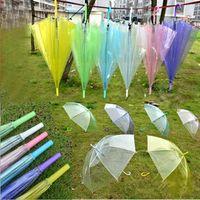 crianças dançar guarda-chuvas venda por atacado-2017 Transparente Claro Guarda-chuva de Dança de Desempenho Longo Lidar Com Guarda-chuvas Colorido Guarda-chuva de Praia Para Homens Mulheres Crianças Crianças Guarda-chuvas