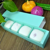 Wholesale Box For Mooncake - Candy Color 4 Grid Macaron Box Dessert Box for Biscuits Cookie Mooncake Packaging Paper Gift Boxes wen5077