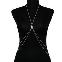 ingrosso la resina attraversa le collane-Etnico doppio strato Bodychain lega di resina Bikini collana corpo collana Cross-Bodychain per le donne Gypsy Beach corpo gioielli regali