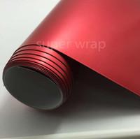 carro embrulhado cromo vermelho venda por atacado-1.52 * 18 m Hot Sale PVC Car Envoltório Do Corpo Inteiro Vermelho Fosco Chrome Adesivo Vinyl Film