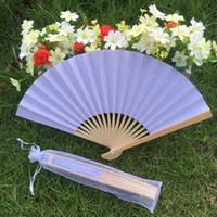 Wholesale paper fans for weddings resale online - DIY customer s own logo White paper folding fan bridal s hand fan for wedding