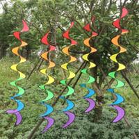 hilandero plegable al por mayor-Aire libre Arco Iris Espiral Windmill Windock Jardín Decorar Durable Girar Portátil Spinner Color Cinta Tejido Plegado 4 5hb jj