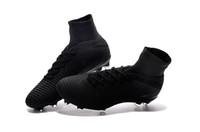 zapatos negros cr7 al por mayor-Botines de fútbol originales negros completos Zapatos de fútbol Mercurial Superfly V FG Zapatos de fútbol CR7 Outdoor High tobilleros Ronaldo
