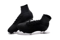 Wholesale high ankle shoes men height online - Full Black Original Soccer Cleats Mercurial Superfly V FG Soccer Shoes CR7 Outdoor Mens High Ankle Ronaldo Football Boots