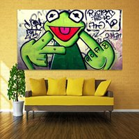 Wholesale frog animal figures for sale - 2017 Street frog grit finger graffiti art canvas painting living room Banksy wall picture room printing
