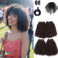afro curl saç uzantıları toptan satış-Dört artı dört 8 adet / paket sentetik afro kinky jerry kıvırmak saç uzatma afro tiny kıvırcık ombre renk saç demetleri 12 16 inç için kadın