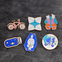 Wholesale wedding shoe brooches for sale - Group buy Cartoon Brooch Bicycle Girl Shoes Origami Wishing bottle pin Travel around the world Enamel pins Backpack Jacket Lapel Pin Badge drop ship