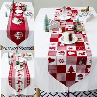 Wholesale 2019 New Year Christmas Tablecloth Linen Dustproof Table Cover X mas Dinner Tablecloth Home Party Decor Linen Cloth
