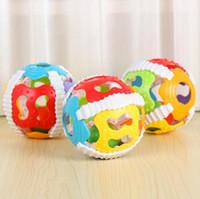 bebek oyuncakları 12 ay toptan satış-0-12 Ay Bebek Yaratıcı Renkli Top Oyuncak Çıngıraklar Zeka Geliştirmek Plastik El Çan Çıngırak Doğum Günü Hediye Oyuncaklar