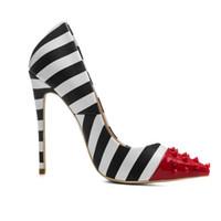 ingrosso donne in tacco alto in porcellana-2018 Nuovo modo all'ingrosso 12 CM scarpe tacco alto scarpe a punta rivetto speciale zebra PU scarpe vestito modello donna all'ingrosso Cina