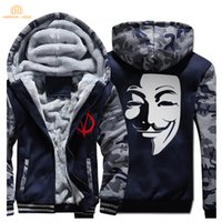 Wholesale mask hoodies - V for Vendetta Mask Guy Fawkes Fashion Hoodies Mens 2017 Winter Fleece Plus Size Sweatshirt Men Thicken Men's Coat Casual Jacket