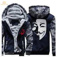 sudaderas hombre al por mayor-V para Vendetta Máscara Guy Fawkes Sudaderas con capucha de la manera para hombre 2017 de lana de invierno más el tamaño de la sudadera de los hombres espesan la capa de los hombres chaqueta casual