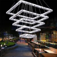 hochwertige leuchten großhandel-Quadratische Kristall-LED-Deckenleuchte Crystal Stair Pendelleuchte für Hotel, Flur, Villa Hochwertige Kristall-Leuchte Beleuchtung