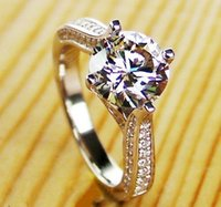Wholesale Round Ring Mount Setting - Wholesale 925 Sterling Silver Jewelry White Gold Color Hearts and Arrows Ring Semi Mount Round 2CT Synthetic Diamonds Engagement Rin