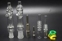 mini-coletores nector venda por atacado-Mini nector kit claro pequeno tubo de vidro dicas com titanium quartzo prego dabber prato 10mm 14mm tubo de vidro néctar coletores