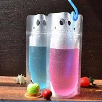 упаковка для соломки оптовых-Мешок мешка пластичного питья упаковывая для кофе молока сока напитка с ручкой и отверстиями для Сторновки