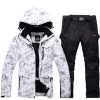 pantalons de snowboard achat en gros de--30 blanc adulte vêtements de ski et de snowboard vêtements de snowboard imperméable coupe-vent respirant en plein air veste de costume de neige et pantalon ceinture Unsex