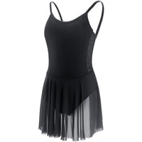 ingrosso vestito nero camisole-Lyrical Ballet Dress Women Canotta Body per ragazza Per adulti Costumi per la danza nera con gonna a rete