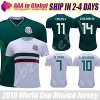 jersey mundo méxico al por mayor-México jersey 2018 Copa del Mundo verde HERNANDEZ G.DOS SANTOS M.LAYUN CARLOS Camisetas de fútbol Vela 18 19 México CHICHARITO Camisetas de fútbol