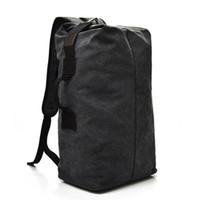 Wholesale vintage travel backpack for sale - Vintage Canvas Men Backpack Casual Travel Backpacks Man Daily Bucket Shoulder Bags Large Capacity Rucksack for Boys