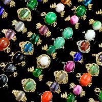 kadın için opal taş halkalar toptan satış-Karışık Renk Vintage Kedi gözü Doğal Taş Opal Kadın Yüzükler Lots Kadınsı Takı LR4059