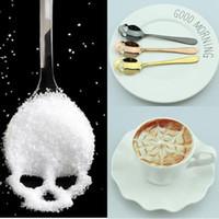 esqueleto de gelo venda por atacado-Colher De Esqueleto De Aço Inoxidável Crânio Colher De Chá De Café Cubo De Açúcar Colheres De Sobremesa Sorvete Colheres De Gelado Acessórios De Cozinha