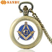 eski cam cebinde saat toptan satış-Klasik Masonik Logo Sanat Cam Cabochon Kuvars Pocket Watch Vintage Bronz Kolye Erkek Kadın Kolye Hediyeler Izle