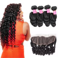 Wholesale human loose curl hair bundles for sale - Group buy Grade A Mongolian Virgin Hair Loose Wave With Frontals Ear to Ear Closure Human Hair Bundles With Lace Frontal Loose Curl Weave Bundles