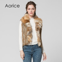 Wholesale knitted rabbit vest online - Pudi VT7007 Brand new winter genuine fur vest Classical Knitted Rabbit Fur Vest Gilet with fox fur collar vest