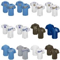 grünes blaues gold großhandel-Männer Frauen Youth Royals Trikots 16 Bo Jackson Jersey Baseball Jersey Weiß Grau Grau Blau Gold Grün Gruß an den Spieler Wochenende