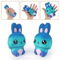 Wholesale squishy bunny - Blue Rabbit Squishy Kawaii Galaxy Bunny Slow Rising Squishies Phone Strap R A DHL Free Shipping SQU073