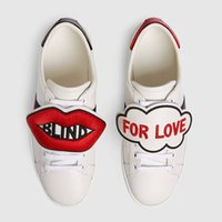 Wholesale genuine patch leather - 7 Style Removable patch Casual Shoes Designer Low Top White Leather Blind For Love Tiger Embroidered Sneakers