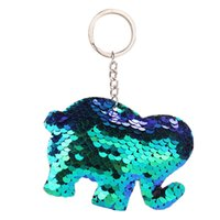 resina de sereias venda por atacado-1 PC Adorável Lantejoulas Elefante Tartaruga Chaveiro Moda Animal Lantejoulas Sereia Keychain Para As Mulheres Bolsa Chaveiro Presente Da Jóia