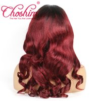 Wholesale Wavy Burmese Hair - Slove Lace Front Human Hair Wigs For Black Women T1B 99j Pre Plucked Wavy Remy Hair Ombre Lace Wigs With Baby Hair