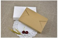 Wholesale Box For Wedding Cards - 19.5x12.5x4cm Kraft paper gift box envelope type cardboard boxes package for wedding party invitation cards wen5039