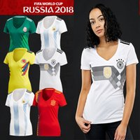 Wholesale russia dress - 2018 Fashion Women's Football Dress Germany Spain Japan Argentina Mexico Jersey Russia Belgium Columbia Sport T-shirt