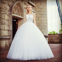 Wholesale wedding dresses small trains resale online - 2019 High Quality Free Freight New Autumn Winter Small Trailing Wedding Dresses White Collar Lace Sexy Beach Wedding Dresses HY099