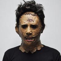 kaliteli cosplay kostümleri toptan satış-Texas Katliamı Leatherface Maskeleri Korkunç Film Cosplay Cadılar Bayramı Kostüm Sahne Yüksek Kalite Parti Malzemeleri Oyuncaklar